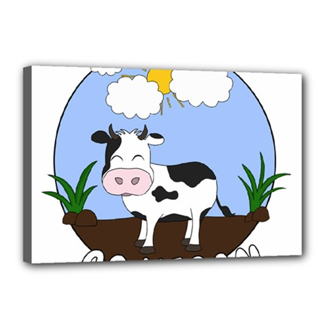 Friends Not Food   Cute Cow Canvas 18  X 12  by Valentinaart