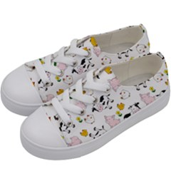 The Farm Pattern Kids  Low Top Canvas Sneakers by Valentinaart