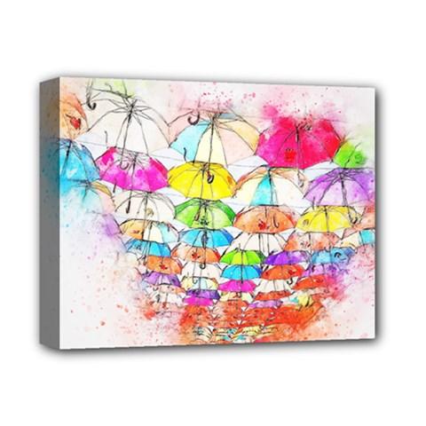 Umbrella Art Abstract Watercolor Deluxe Canvas 14  X 11  by Nexatart