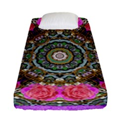 Roses In A Color Cascade Of Freedom And Peace Fitted Sheet (single Size) by pepitasart