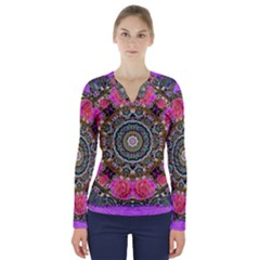Roses In A Color Cascade Of Freedom And Peace V Neck Long Sleeve Top