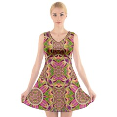 Jungle Flowers In Paradise  Lovely Chic Colors V Neck Sleeveless Skater Dress