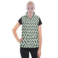 Zigzag Chevron Pattern Green Black Women s Button Up Puffer Vest by snowwhitegirl