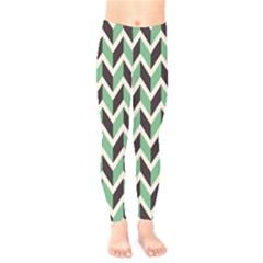 Zigzag Chevron Pattern Green Black Kids  Legging by snowwhitegirl