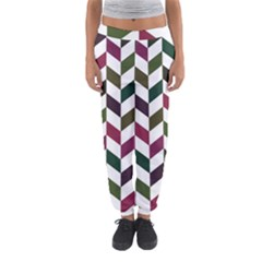Zigzag Chevron Pattern Green Purple Women s Jogger Sweatpants by snowwhitegirl
