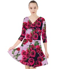 Roses Pink Quarter Sleeve Front Wrap Dress	 by snowwhitegirl