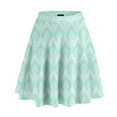 Damask Aqua Green High Waist Skirt by snowwhitegirl