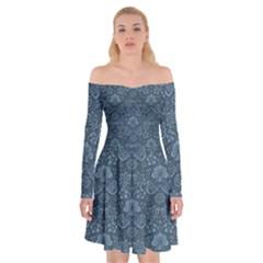 Damask Blue Off Shoulder Skater Dress