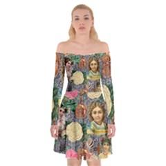 Damask Religious Victorian Grey Off Shoulder Skater Dress