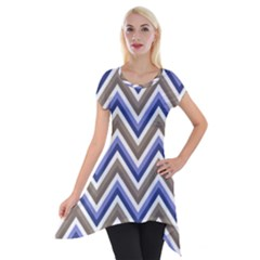 Chevron Blue Beige Short Sleeve Side Drop Tunic