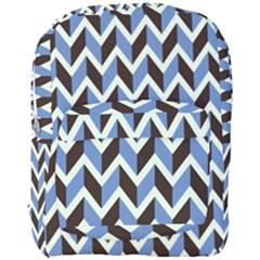 Chevron Blue Brown Full Print Backpack by snowwhitegirl