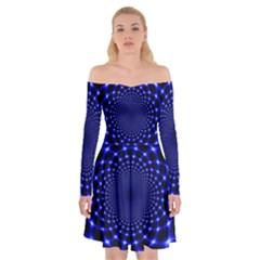 Indigo Lotus  Off Shoulder Skater Dress