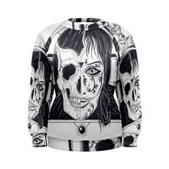 Womans Head With Half Face Skull Engraved 1441 833 Women s Sweatshirt