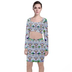 Nine Little Cartoon Dogs In The Green Grass Long Sleeve Crop Top & Bodycon Skirt Set by pepitasart