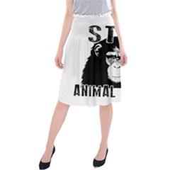 Stop Animal Abuse   Chimpanzee  Midi Beach Skirt by Valentinaart