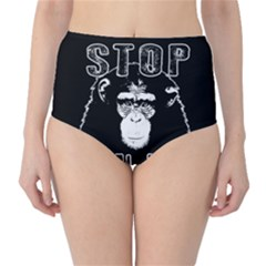 Stop Animal Abuse   Chimpanzee  High Waist Bikini Bottoms