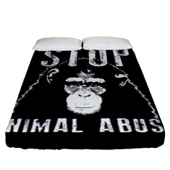 Stop Animal Abuse   Chimpanzee  Fitted Sheet (california King Size) by Valentinaart