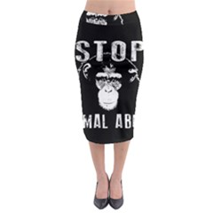 Stop Animal Abuse   Chimpanzee  Midi Pencil Skirt by Valentinaart