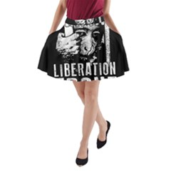 Animal Liberation Front   Chimpanzee  A Line Pocket Skirt by Valentinaart