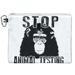 Stop Animal Testing   Chimpanzee  Canvas Cosmetic Bag (xxl) by Valentinaart