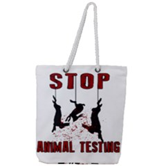 Stop Animal Testing   Rabbits  Full Print Rope Handle Tote (large) by Valentinaart
