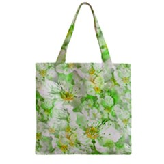 Light Floral Collage  Zipper Grocery Tote Bag by dflcprints