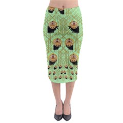 Lady Panda With Hat And Bat In The Sunshine Midi Pencil Skirt by pepitasart