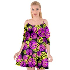 Neon Yellow And Hot Pink Circles Cutout Spaghetti Strap Chiffon Dress
