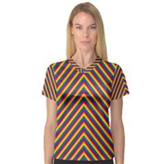 Gay Pride Flag Rainbow Chevron Stripe V Neck Sport Mesh Tee by PodArtist