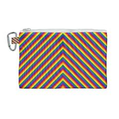 Gay Pride Flag Rainbow Chevron Stripe Canvas Cosmetic Bag (large) by PodArtist