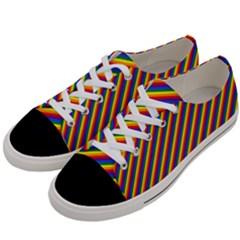 Gay Pride Flag Candy Cane Diagonal Stripe Women s Low Top Canvas Sneakers by PodArtist