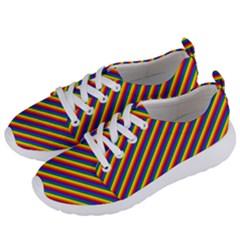 Gay Pride Flag Candy Cane Diagonal Stripe Women s Lightweight Sports Shoes by PodArtist