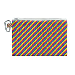 Gay Pride Flag Candy Cane Diagonal Stripe Canvas Cosmetic Bag (large) by PodArtist