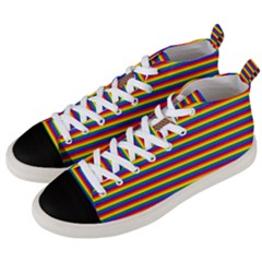 Horizontal Gay Pride Rainbow Flag Pin Stripes Men s Mid Top Canvas Sneakers by PodArtist
