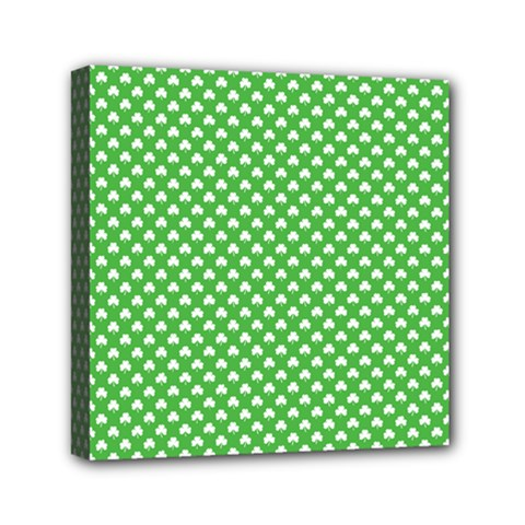 White Heart Shaped Clover On Green St  Patrick s Day Canvas Travel Bag by PodArtist