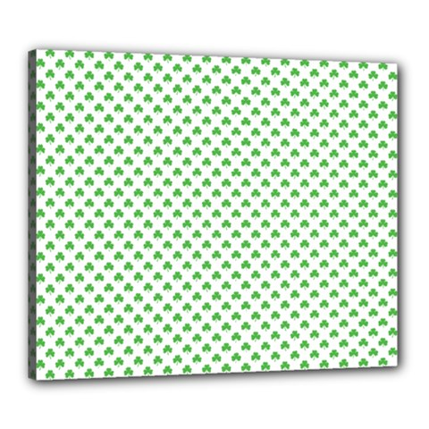 Green Heart Shaped Clover On White St  Patrick s Day Canvas 24  X 20  by PodArtist