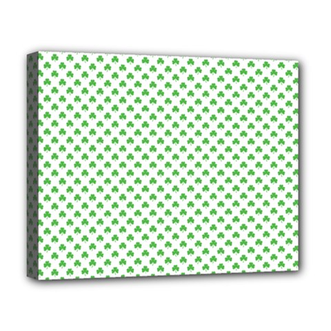 Green Heart Shaped Clover On White St  Patrick s Day Deluxe Canvas 20  X 16   by PodArtist