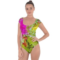 Colored Plants Photo Short Sleeve Leotard  by dflcprints