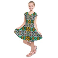 Rainbow Flowers And Decorative Peace Kids  Short Sleeve Dress