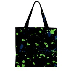 Dark Splatter Abstract Zipper Grocery Tote Bag by dflcprints