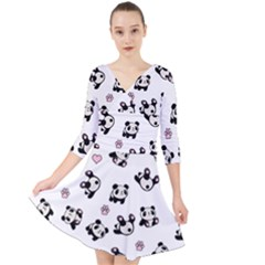 Panda Pattern Quarter Sleeve Front Wrap Dress by Valentinaart