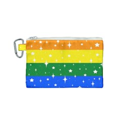 Sparkly Rainbow Flag Canvas Cosmetic Bag (small) by Valentinaart