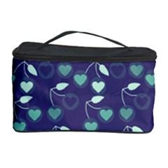 Heart Cherries Blue Cosmetic Storage Case by snowwhitegirl