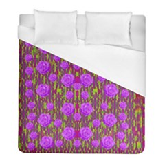 Roses Dancing On A Tulip Field Of Festive Colors Duvet Cover (full/ Double Size) by pepitasart