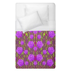Roses Dancing On A Tulip Field Of Festive Colors Duvet Cover (single Size) by pepitasart