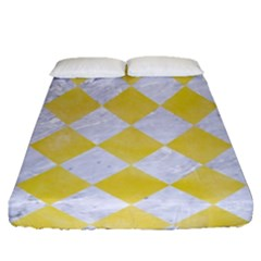 Square2 White Marble & Yellow Watercolor Fitted Sheet (queen Size) by trendistuff