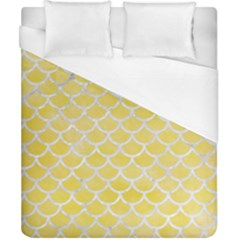 Scales1 White Marble & Yellow Watercolor Duvet Cover (california King Size) by trendistuff