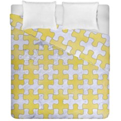 Puzzle1 White Marble & Yellow Watercolor Duvet Cover Double Side (california King Size) by trendistuff