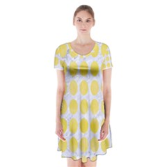 Circles1 White Marble & Yellow Watercolor (r) Short Sleeve V Neck Flare Dress