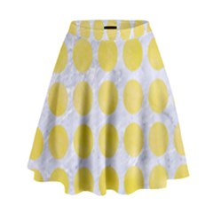 Circles1 White Marble & Yellow Watercolor (r) High Waist Skirt by trendistuff